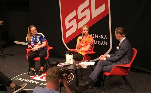 Maja Liljeroth, Sirius, och Elin Björkman, Rönnby, frågas ut av Patrik Åman.