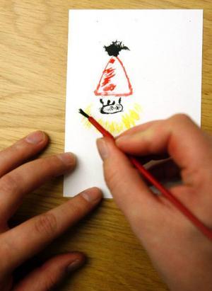 Jultomten får drag av Hagbard Handfaste när Lasse Ljungmark håller  i penseln.