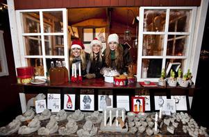 Designboden. Emilia Ölander, Hedvig Broberg och Emma Modig från Design och Träteknik på Högskolan i Gävle visar egna produkter på julmarknaden i Furuvik.
