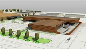 Så här är det tänkt att det 3700 kvadratmeter stora varm- och kallagret ska se ut. Byggnaden ska uppföras precis i anslutning till parkeringen vid Företagshuset. Foto: Gisteråsjöstrand Arkitektur