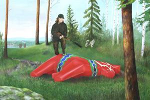 Tavlan med en skjuten dalahäst symboliserar hur Hälsingland med sina världsarv tar upp kampen med Dalarna, ett landskap Hälsingland känner avundsjuka gentemot, enligt Erik Olof Wiklund.