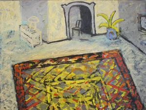Interiör med stol, oljemålning av Carl-Olof Tronje.