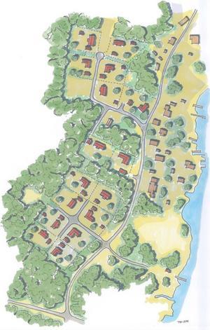 De nya villorna planeras väster om vägen som går genom Eskö-rönningen. De är rödfärgade på kartan ovan. De gula husen (de flesta öster om vägen) finns där redan i dag.