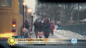 Skärmdump från Nyhetsmorgon som visade delar av Kalla Fakta-reportaget som visas på tisdagskvällen.