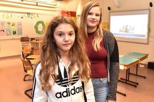 Emilia och Andrea berättade att pengarna de samlar in går till UNICEF.