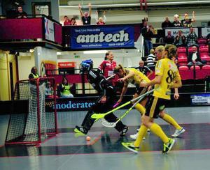 Johanna Sticopers jublar och Endrespelarna deppar efter kvitteringen till 1-1. Efter en jämn tillställning droc hemmalaget det längsta strået och vann med 3-2. Foto: Ola Mopers