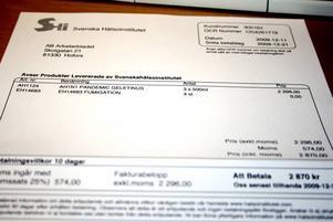 """FALSK. En sådan här faktura kom till Arbetarbladets lokalredaktioner på tisdagen. Och tidningen är inte ensam om att få """"erbjudandet"""".  Foto: Lynda Lundin"""