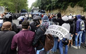 Demonstrationer i Neapel, Italien, i oktober 2014 mot