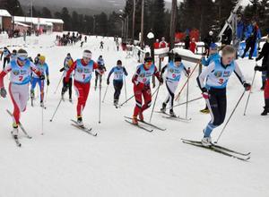 Gabriella Pålsson, Utrikes SK, tog rygg på startsnabba Älvdalen inledningsvis men ute på spåret var det sedan ingen av de övriga tjejerna som kunde hänga med.