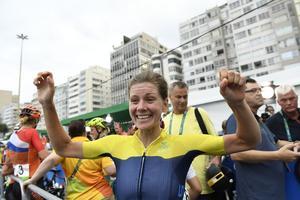 Emma Johansson efter målgången.