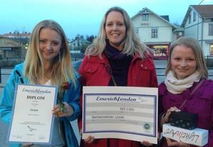 Ella Boäng, Celine Estassy och Emilia Wedmark är här hemkomna till Ljusdal efter prisceremonin i Stockholm.
