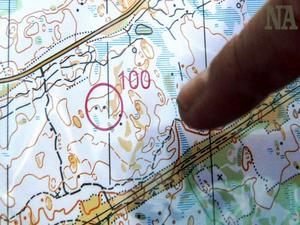 Här ser vi hur det skulle ha sett ut på kartan där vi satt upp vår kontroll nummer 100.