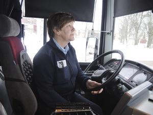 Busschauffören Irene Berg kör ofta linje 3.