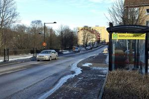 På grönområdet nedanför Storgatan i närheten av Mittuniversitetet vill K2A bygga studentlägenheter.