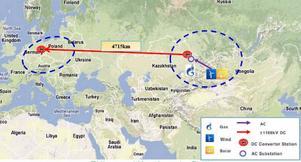 Rutt ett, Kina till Polen, 470 mil. Illustration SGCC