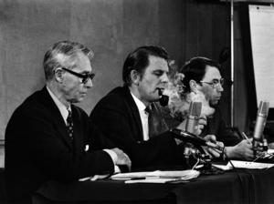 Sverige ca 1970. Den borgerliga oppositionens partiernas partiledare fr. v. Gösta Bohman, Moderata samlingspartiet, Thorbjörn Fälldin, Centerpartiet, och Gunnar Helén, Folkpartiet.
