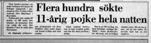 Artikel publicerad i Sundsvalls Tidning lördagen den 8 november 1980, dagen efter att Johan Asplund försvann.
