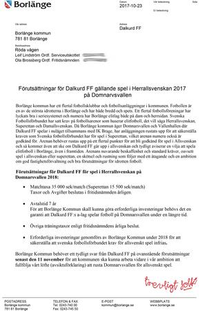 Skärmdump från Borlänge kommuns svar på Zilan Lawans mail.