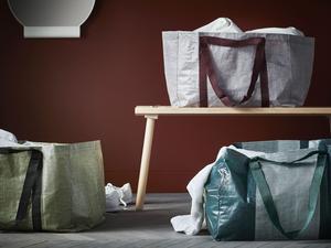 Ypperlig innehåller Ikea-kassar i moderna toner av grått, vinrött och grönt.