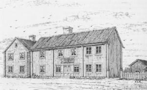Här en teckning över Melanders barndomshem där fadern drev bageri. Platsen är ungefär den där Handelsbanken ligger i dag.