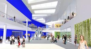Så här är det tänkt att ihopbyggda Ikea och den nya gallerian söder om Umeå ska se ut. De beräknas stå klara om två år.