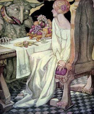 Skönheten blir behandlad som en prinsessa av Odjuret. Illustration av Anne Anderson.