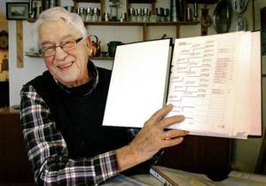 Alvar Johnsson visar stolt upp pärmen där han har sin släktforskning.FOTO: BENGTERIC GERHARDSSON
