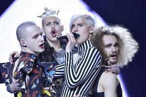 Dismissed framför sitt bidrag Hearts Allign under repetionerna inför Melodifestivalens andra deltävling i Malmö arena.