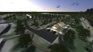 Växthusen kommer att placeras en bit från E16 (längst till höger i bild). Det finns även planer på att bygga ett besökscentrum intill E16 och att Ovakos infart från europavägen görs om.