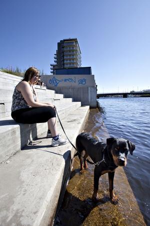 Isabella Lundgren som bor alldeles vid Dalapalatset är ute och går med hunden Puzzel. Hittills har bara hunden vågat bada, men så småningom kanske även Isabella vågar ta sig ett dopp. Det händer att hon tar med sig sin hemmaboxutrustning och träna boxning på den stora gräsängen nedanför Fullriggaren. Hon tycker att Gävle Strand och Alderholmen har blivit en trevlig stadsdel.– Speciellt nu på sommaren när det sitter folk på alla restauranger på kvällarna. Det ser mysigt ut och lukar gott, Puzzel vill alltid stanna och nosa när vi går förbi, säger hon.