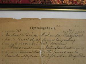 Flyttningsbevis Lovisa Molander Engström.