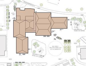 Alternativ 2: Nuvarande aula, kök och matsal behålls och resten byggs nytt – 182 miljoner kronor.