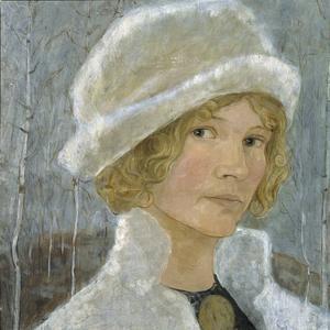 """Självporträtt, Esther Ellqvist. Ingår i utställningen """"Esther och John Bauer - ett konstnärspar""""."""
