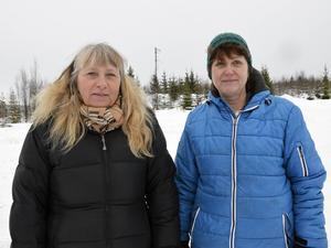 Byborna Marianne Fors och Lotta Hjerpe är lite oroliga över att ljudet från vindkraftverken ska störa vardagslivet.
