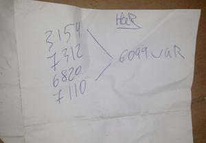 En lapp som hittades i en papperskorg i garaget. Enligt åklagaren visar den att fyra av männen delar på pengar från försäljningar – vilket i så fall skulle stärka bevisningen för att de hjälptes åt med allt stöldgods.