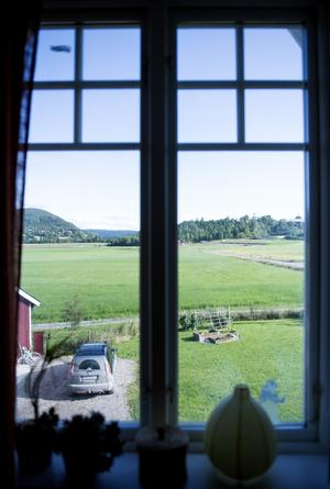 Utsikten från övervåningen är milsvid och på ängarna utanför knuten går Medelpad Classics skidspår på vintern.