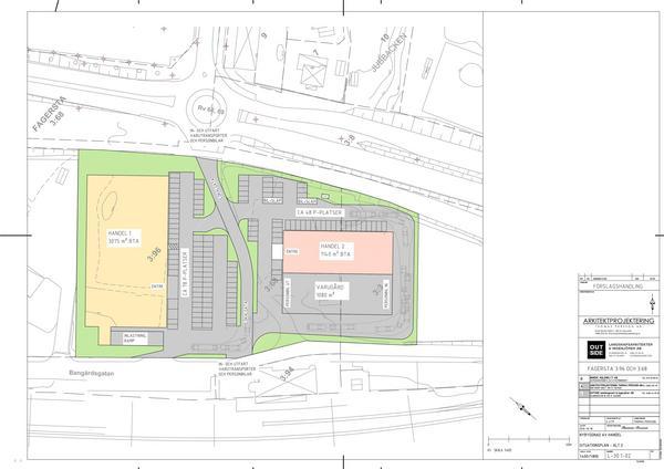 Ritning på byggplanerna för handelsområdet där den gula byggnaden kommer att vara Dollarstore och den rosa Jem & Fix. Foto: CT Development