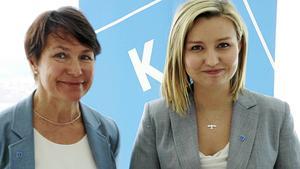 Birgitta Sacrédeus, femma på partiets EU-lista, menar att partiledaren Ebba Busch  Thor har stor del i partiets valframgång. Fotograf: Jonas Hasselqvist