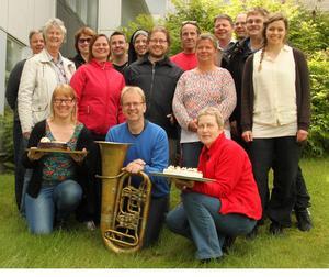 Det firades bland kulturskolans personal när beskedet om att man rankas högst i Dalarna. Chefen Magnus Carlsson vid tuban.