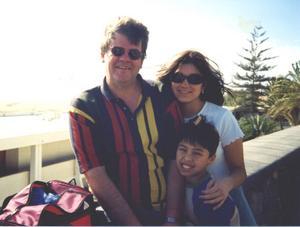 Med barnen Eva-Lotta och Peter på semester på 1990-talet.