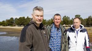 Jan Goode, Thomas Thyr och Thomas Gunnarsson hoppas Söderhamns Stenö öringscup ska locka fiskegäster till kommunens kust.
