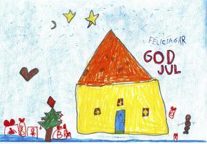 Felicia Gustavsson Vikner, 6 år, från Örnsköldsvik har ritat det här fina gula huset. I fönstren hänger julgardiner och granen utanför är vackert pyntad.
