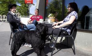 Christina Barklund, Tomas Persson och Michaela Moser med hunden Nikki tar en fika i solen.