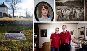 Ronny Landin ligger begravd på kyrkogården i Fellingsbro och ett Bob Dylan-citat                               pryder hans gravsten. Hans föräldrar Gun-Britt och Lars Landin lever fortfarande med sorgen. Den svartvita bilden visar den vallning som tingsrätten genomförde på brottsplatsen. I förgrunden syns Ronnys föräldrar, även Klas Lund finns med på bilden.