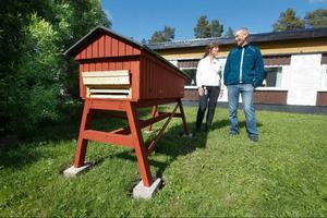 Scandic hotell i Östersund har skaffat en egen bikupa på sin innergård.– Vi vill ha den här för att visa gästerna att vi tar miljötänket ytterligare ett steg, säger hotelldirektören Nicki Eby, här tillsammans med Pedro Blom, leverantör av bina.