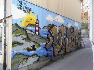 Kommunen kommer inte anlita graffitimålare att smycka gångtunnlar. Den här målningen fanns tidigare på Posthusgatan i Norrtälje.