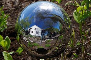 I en handelsträdgård vid Söderfors Herrgård låg denna spegelkula o glänste magigiskt i solskenet.