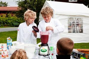 Oskar Brugge och Melker Gadd serverade smoothies till barn på deras eget café.