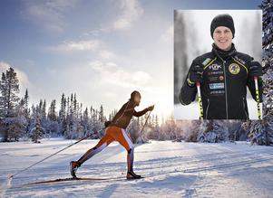 Erik Wickström (lilla bilden) slog det galna världsrekordet när han åkte nära 44 mil på 24 timmar, på skidor.