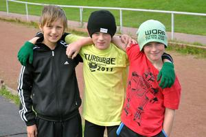 Oskar Tranback samt Casper och Hampus Östberg har lite olika favoritgrenar inom friidrotten.